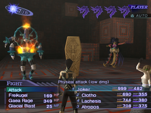 A battle against Vile Mada, Tyrant Mot, and Femme Rangda (left to right). Press turn is indicated by the purple icons on top-right side of the screen.