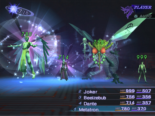 A totally unorthodox party of the protagonist, Tyrant Beelzebub, Fiend Dante, and Seraph Metatron (right to left). Each of them comes with their very damaging boss-level attack.
