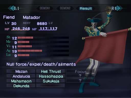 A fusion plan for Matador. Green text on the skill list indicates inherited skills. Matador's resistances aren't changed.