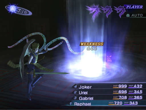 Seraph Raphael hits weakness on a Foul Shadow. Notice the glowing Press Turn icon that indicates only a half turn is used.