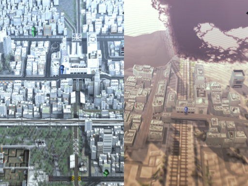 Tokyo before Cataclysm (left) and after Cataclysm (right).