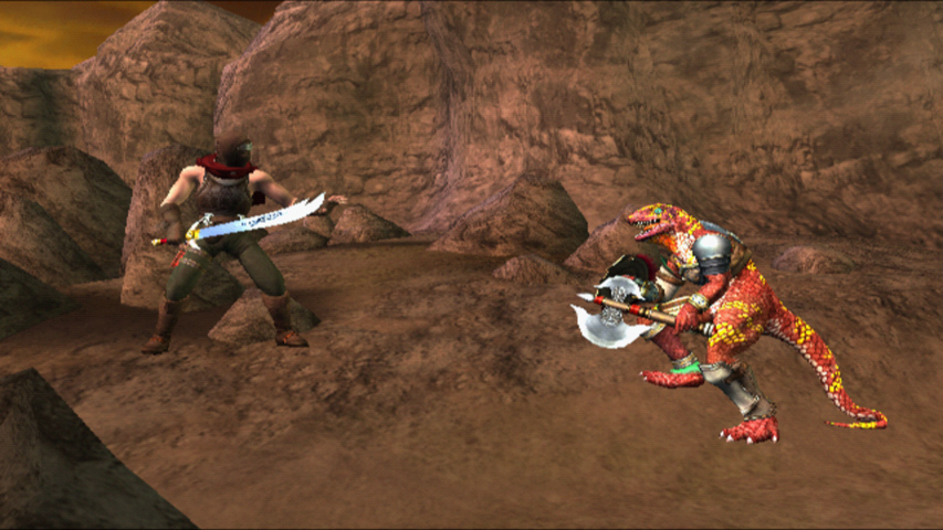 Custom Assassin vs. Lizardmen in Badlands stage.